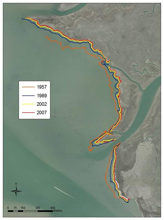 Erosion of the marsh edge between 1957 and 2007 at the Chimney Pole Marsh